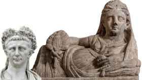 Una de las figuras de 'Etruscos. El amanecer de Roma' junto al busto del emperador Claudio.