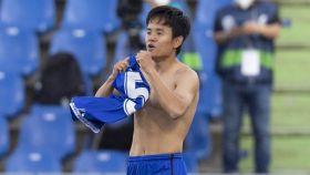 Take Kubo celebra su gol con el Getafe