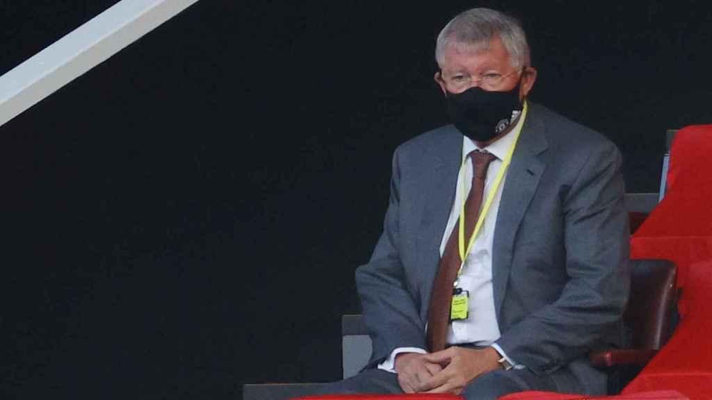 Ferguson en el palco del Manchester United