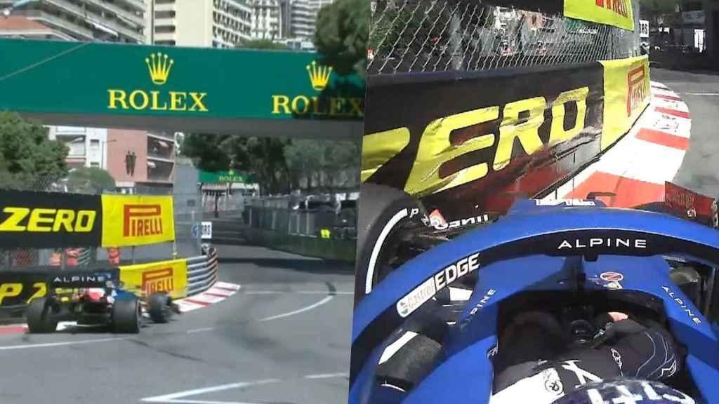 Fernando Alonso en la curva 'Anthony Noghès' durante los primeros entrenamientos libres del Gran Premio de Mónaco de 2021