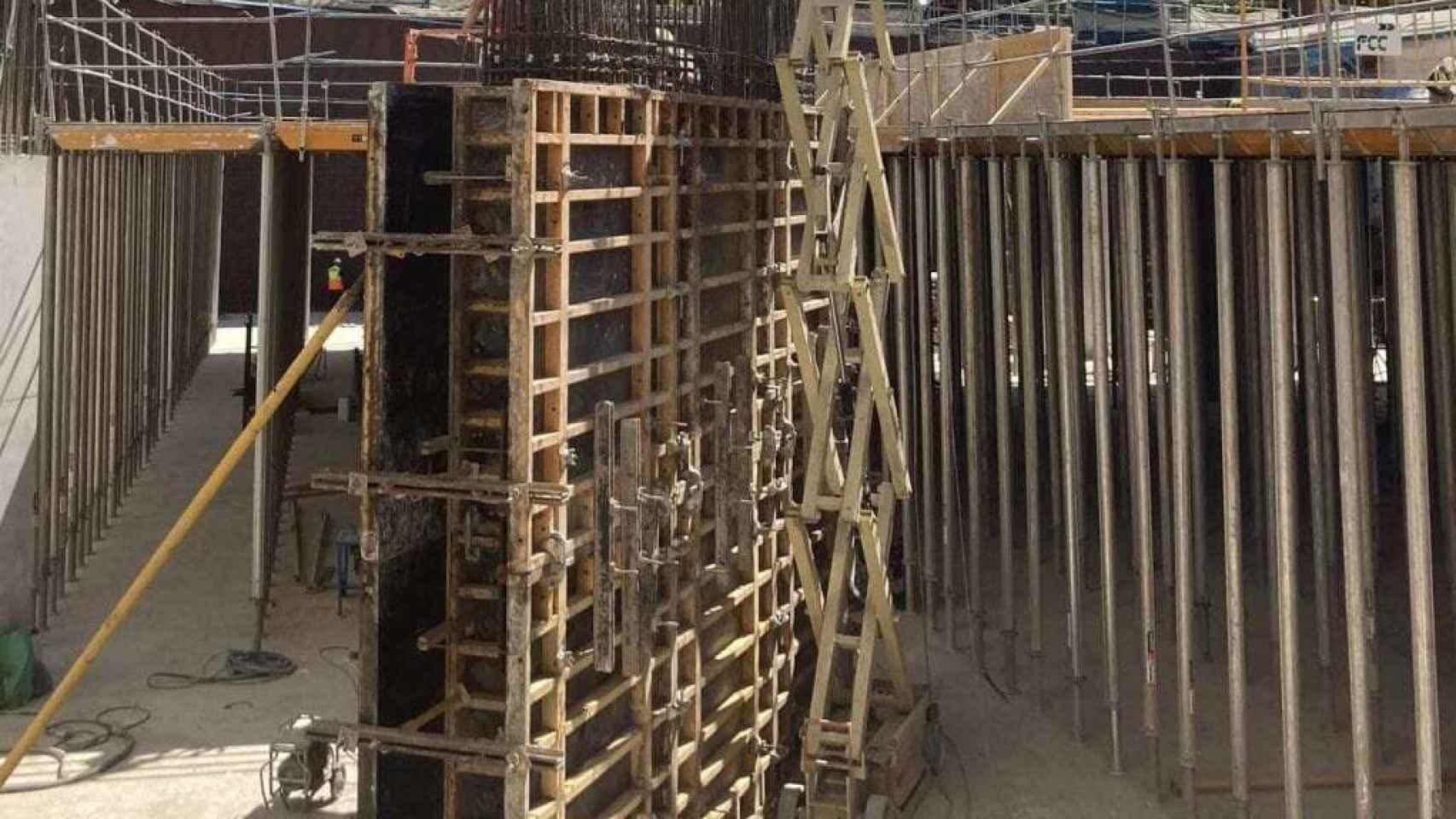 Imagen de las obras del nuevo párking del Estadio Santiago Bernabéu en el mes de mayo de 2021