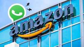 Logo de WhatsApp sobre las oficinas de Amazon.