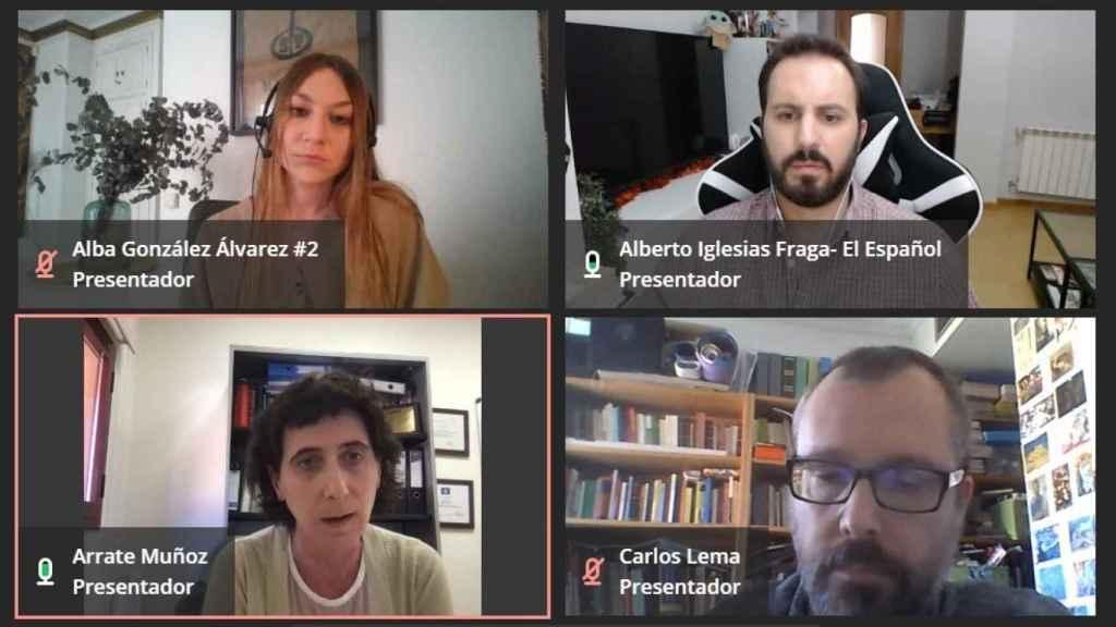 Imagen del panel de investigadores de la UC3M en salud con Arrate Muñoz, Carlos Lema y Alba González.