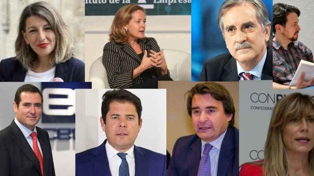Yolanda Díaz, Nadia Calviño, Valeriano Gómez, Pablo Iglesias, Antonio Garamendi, Gerardo Cuerva, José Luis Roca y Begoña Gómez.
