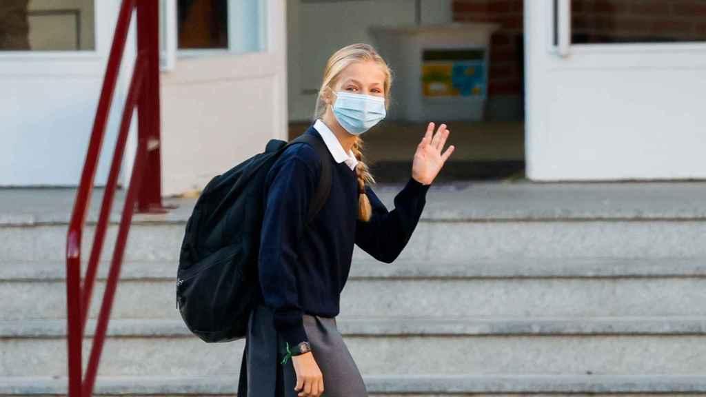 Leonor de Borbón llegando a su colegio en una imagen de archivo.