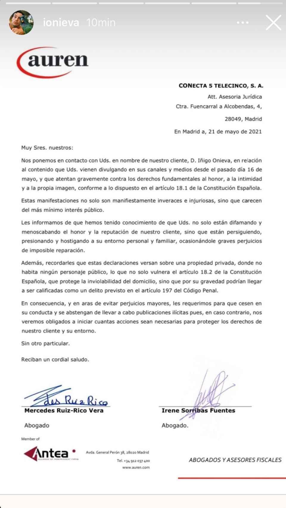 El comunicado que ha enviado Íñigo Onieva a través de sus abogados.