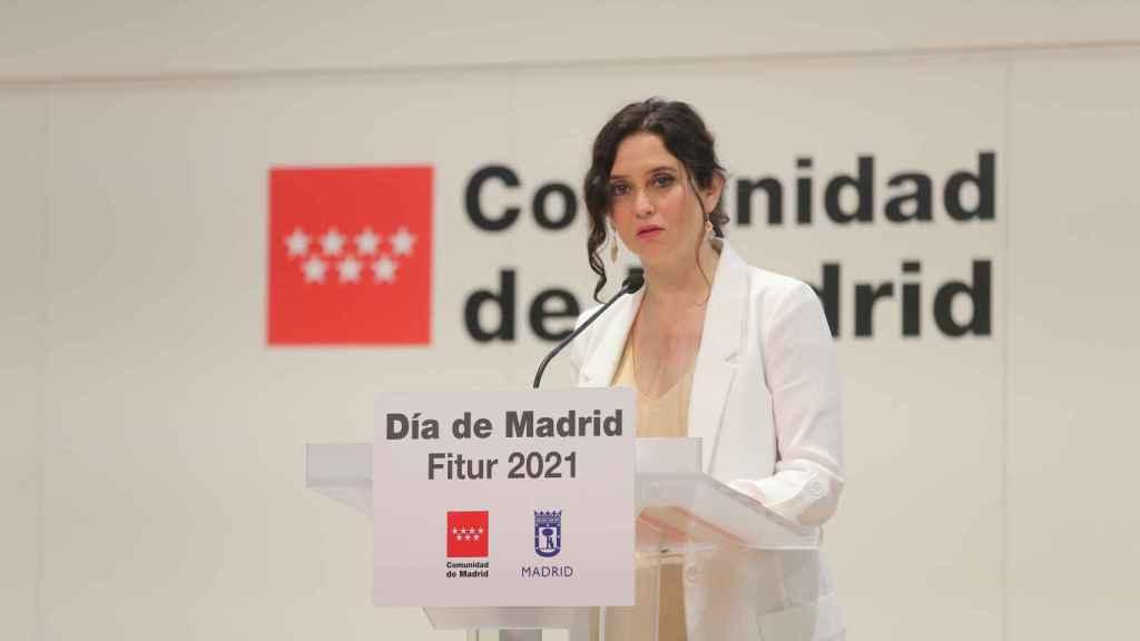 La presidenta de la Comunidad en funciones, Isabel Díaz Ayuso, interviene en los actos de celebración del Día de Madrid en Fitur, a 21 de mayo de 2021.