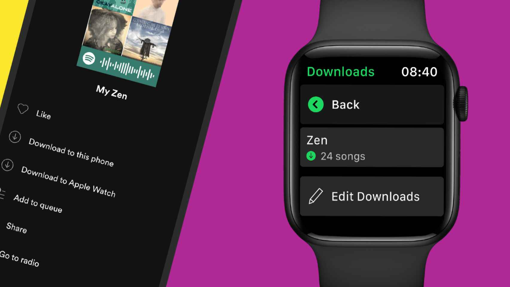Spotify añade la reproducción sin conexión al Apple Watch.