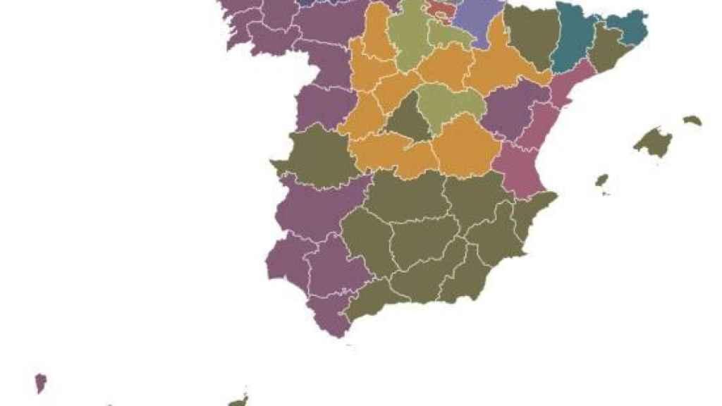 Mapa de los nombres más comunes en España.