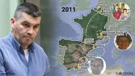 La presunta ruta que cometió Étienne Dedroog en 2011. Mató a tres personas y se le atribuye un cuarto en España.