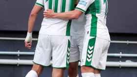El Elche celebra un gol en el último partido contra el Cádiz.