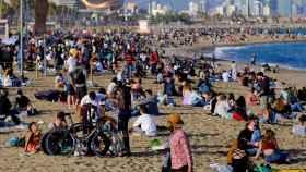 La playa de la Barceloneta este jueves.