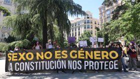 La Alianza contra el Borrado de Mujeres frente al Congreso de los Diputados el pasado 18 de mayo.