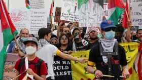 Manifestantes a favor de Palestina en Nueva York.