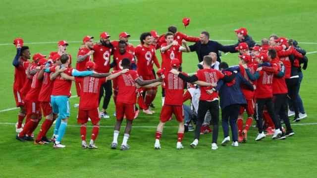 El Bayern celebra el título de Bundesliga