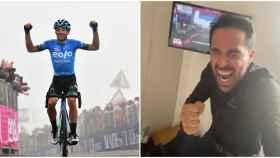 Alberto Contador, roto de emoción con la primera victoria de su Eolo Kometa en una gran vuelta
