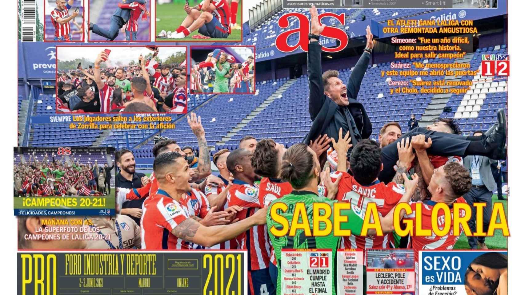 La portada del diario AS (23/05/2021)