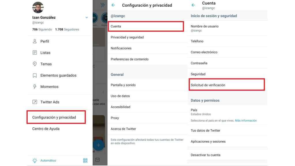 Solicitar verificación de cuenta de Twitter