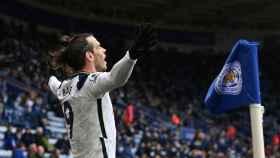 Gareth Bale celebrando uno de sus goles frente al Leicester