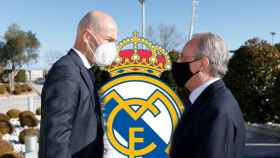 Zinedine Zidane y Florentino Pérez, en un fotomontaje con el escudo del Real Madrid