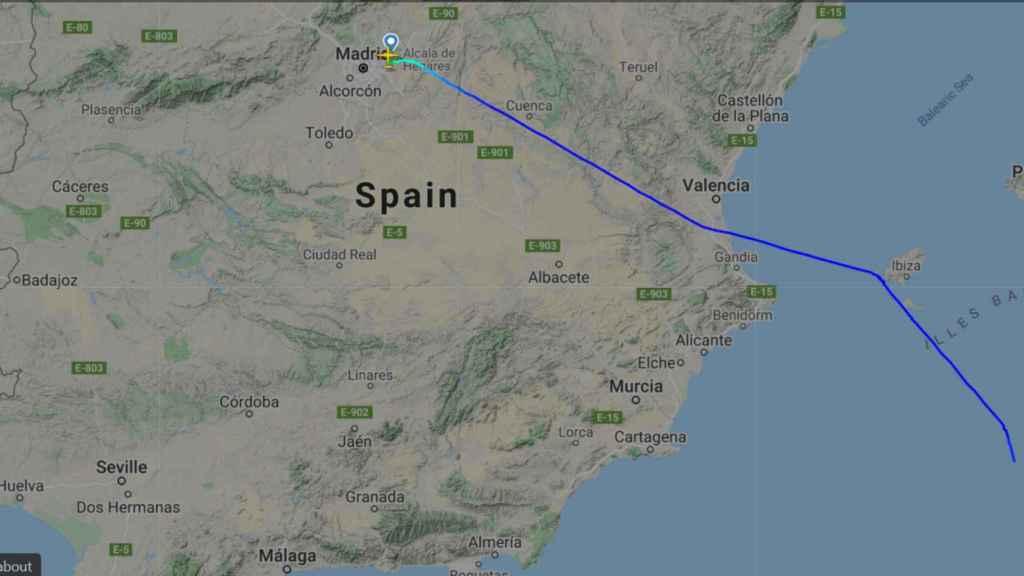La trayectoria que ha seguido el vuelo militar, procedente de Argel, que este lunes ha aterrizado en Torrejón (Madrid).