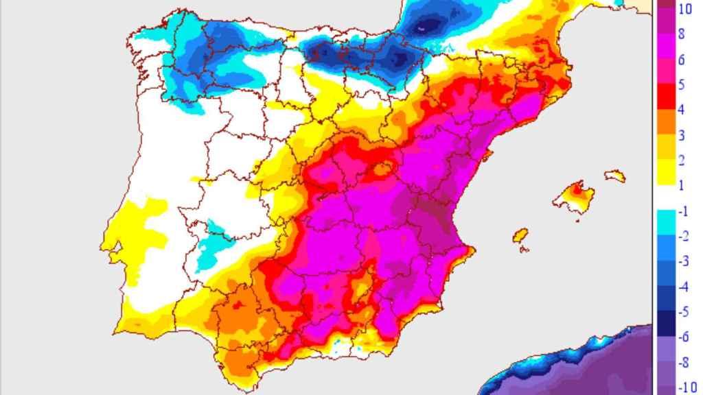 Las zonas con mayor subida de temperaturas en la Península Ibérica. AEMET