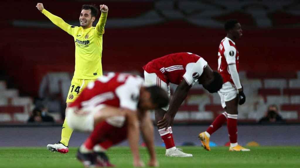 Manu Trigueros celebra la victoria del Villarreal ante el Arsenal