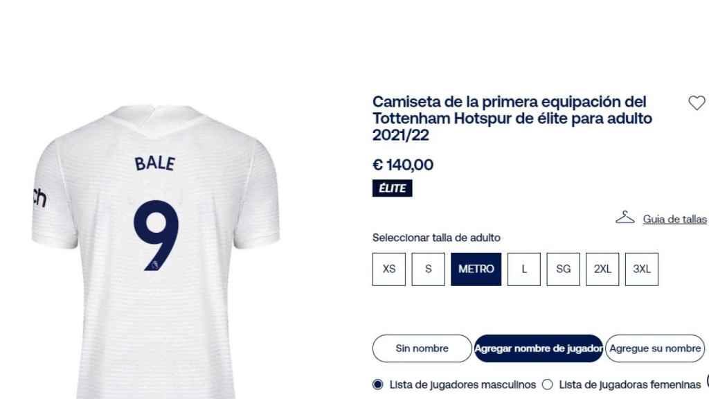 La camiseta de Gareth Bale para la 2021/2022, a la venta en la web del Tottenham