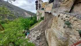 Derrumbe de la calle Canónigos de Cuenca, en pleno Casco Histórico. Foto: EUROPA PRESS / RUBÉN MARCO