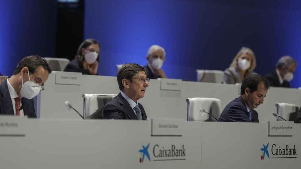 El presidente de CaixaBank, José Ignacio Goirigolzarri, en la junta de accionistas.
