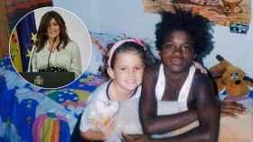 Ana Iris Simón de pequeña, junto a un niño saharaui en su casa.