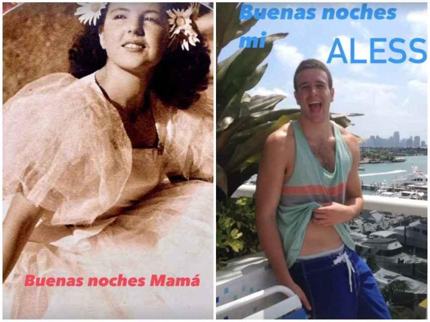 Ana Obregón quiso dar las buenas noches a su madre y a su hijo.