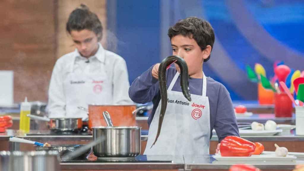Juan Antonio durante su cocinado de la anguila en 'MasterChef Junior'