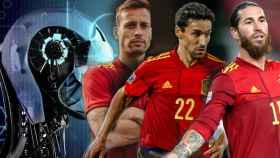 Sergio Canales, Jesús Navas y Sergio Ramos, en un fotomontaje con una imagen de inteligencia artificial