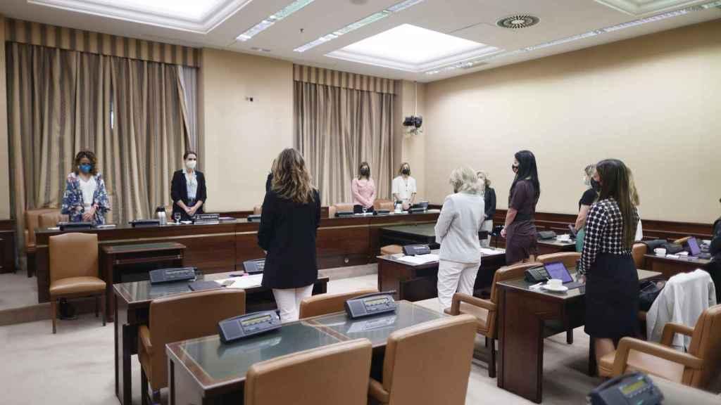 Las miembros de la Comisión de Igualdad durante el minuto de silencio este martes.
