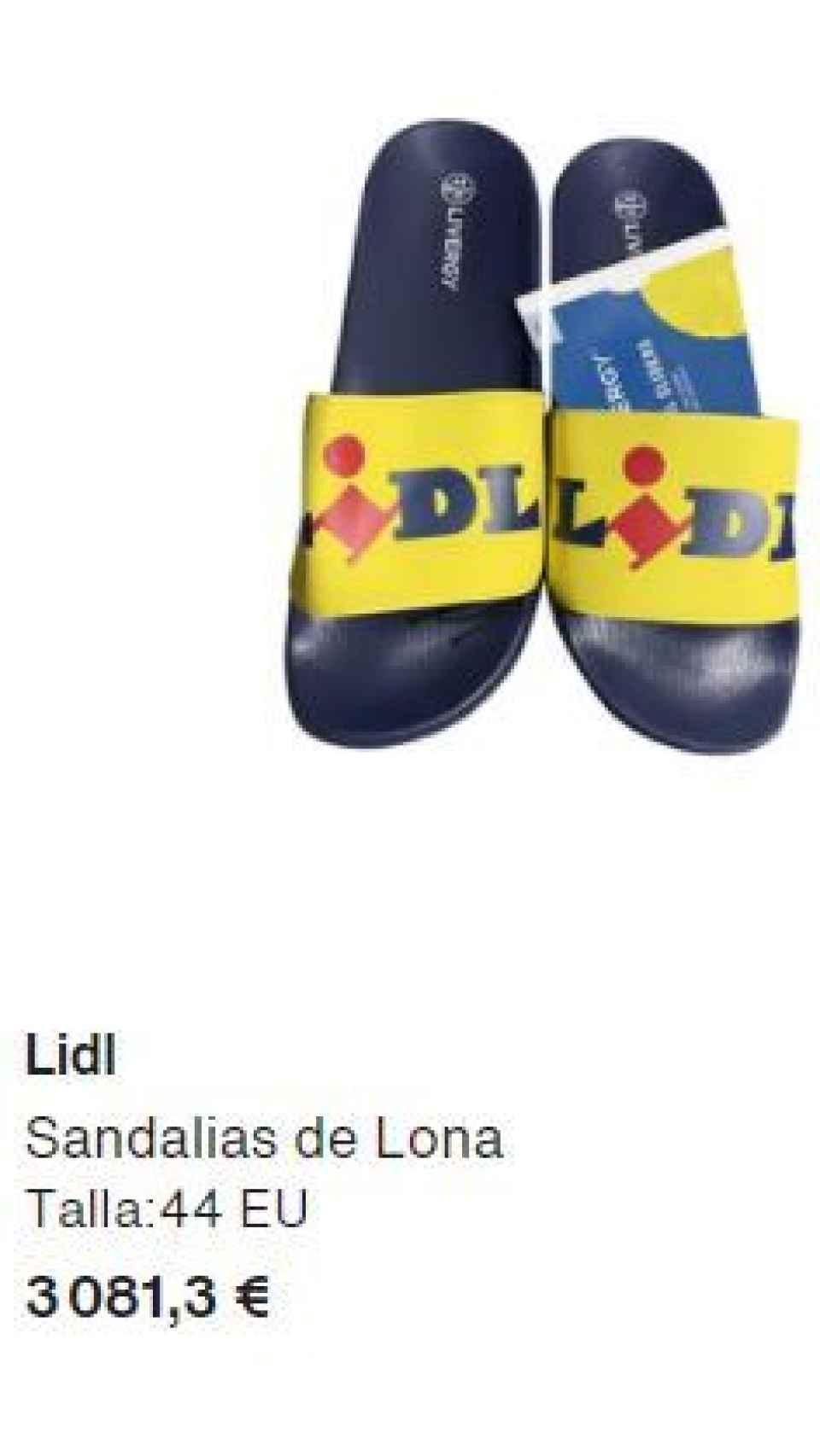El anuncio por el que se venden estas chanclas a 3.081 euros.