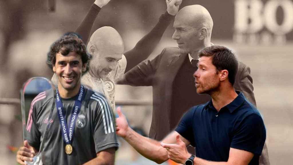 Raúl González, Pep Guardiola, Zinedine Zidane y Xabi Alonso, en un fotomontaje