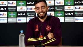 Bruno Fernandes, en rueda de prensa de la Europa League