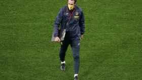 Unai Emery, durante el último entrenamiento antes de la final de la Europa League