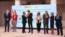 Presentación en Toledo del proyecto de hidrógeno verde de Iberdrola y Cummins, con la presencia del presidente del Gobierno, Pedro Sánchez, y el presidente de Castilla-La Mancha, Emiliano García-Page. Foto: Óscar Huertas