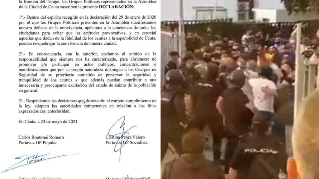 Documento conjunto de los partidos ceutíes y los disturbios contra Santiago Abascal en Ceuta.
