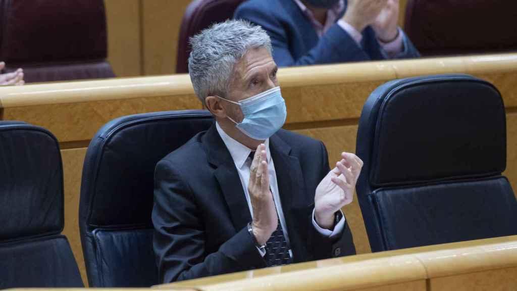 El ministro de Interior, Fernando Grande-Marlaska, durante una sesión de control al Gobierno en el Senado.