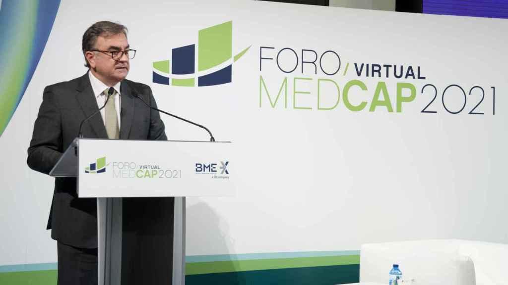 El consejero delegado de BME, Javier Hernani, en la apertura del Foro MedCap.