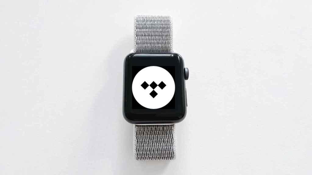Logo de Tidal en un Apple Watch.