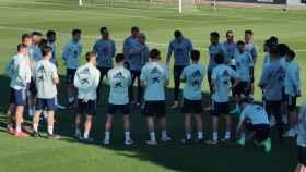 Los jugadores de España sub21, entrenando en Las Rozas