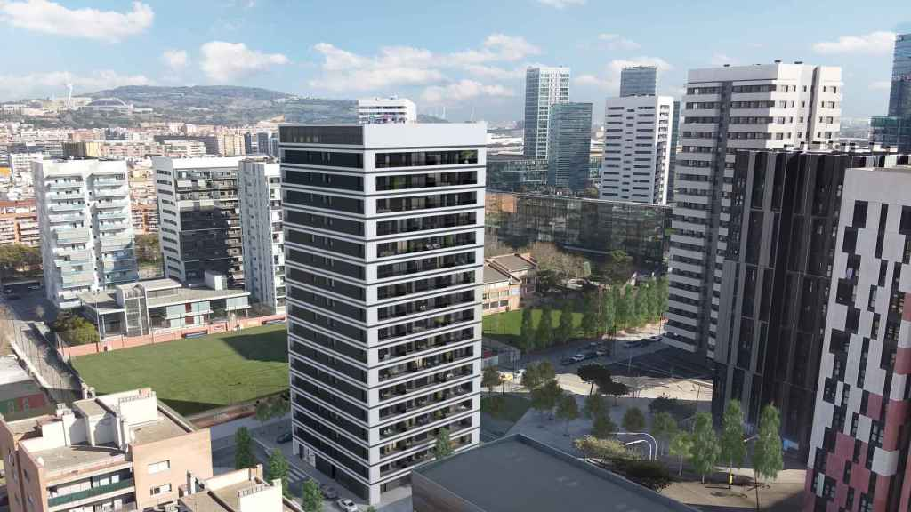 En el centro, el futuro edificio Cobo que AEDAS Homes promueve en régimen BtR para Grupo Lar y Primonial en L'Hospitalet de Llobregat.