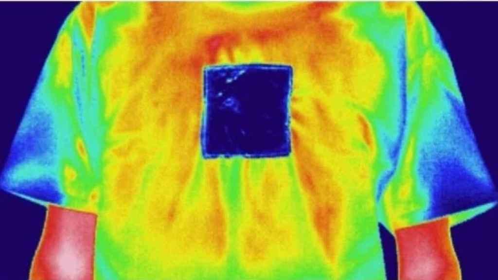 Modo calefacción, el recuadro del nuevo textil absorbe toda la radiación hacia la parte interna
