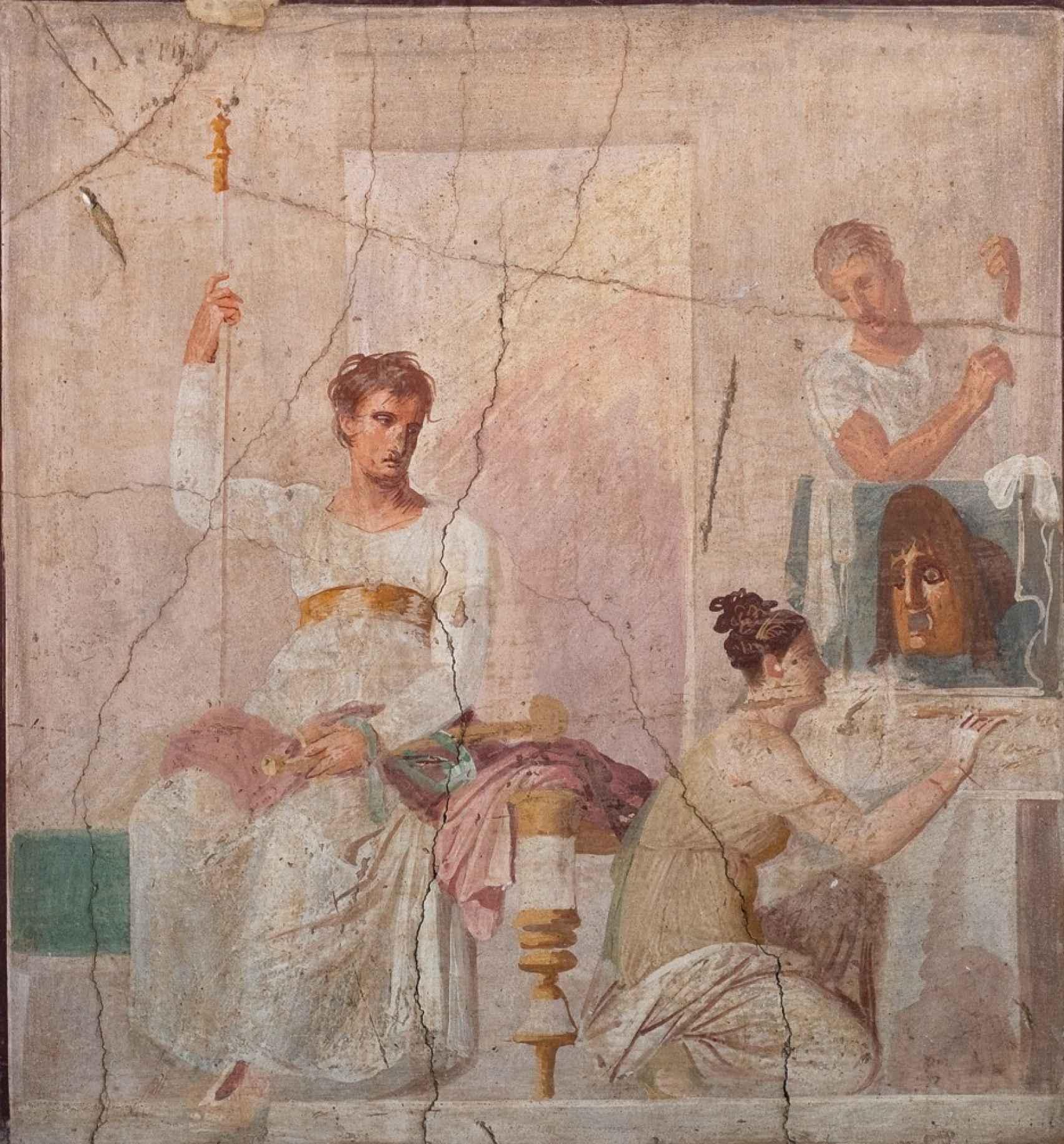 Fresco que representa a varios actores de la Antigua Roma.