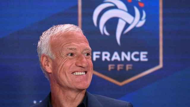 Didier Deschamps, en rueda de prensa con la selección de Francia