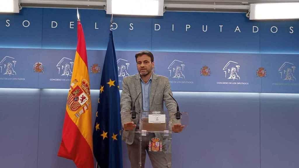 Jaume Asens, presidente del Grupo Parlamentario de Unidas Podemos, en la sala de prensa del Congreso.